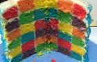 Making a rainbow checkerboard cake
